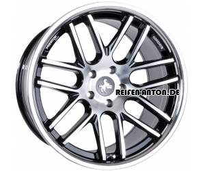 Keskin KT14 Concave 10x20 ET20 5x120 Black Front Polished Steel Lip
