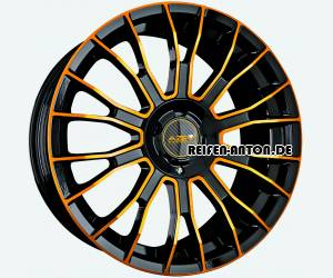 Azev Y 8x18 ET45 5x108 Schwarz Glanz FP Colorline Gold